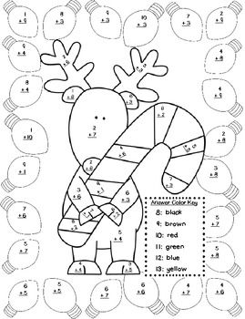 Christmas Addition Color By Number Christmas Math Worksheets Christmas Math Christmas Addition