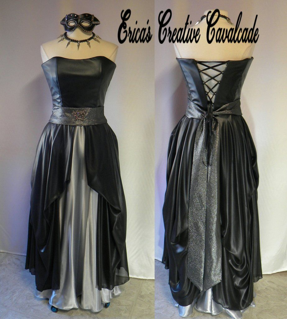 Leather look black and silver gown with beads and daggers choker, and studded mask set. Rocker Chicks, Biker and Goth Girls, this suits you ! #RockerLeatherLook #SilverAndBlack #PartyDressIdeas #GothicBallgown #LaceUpBack