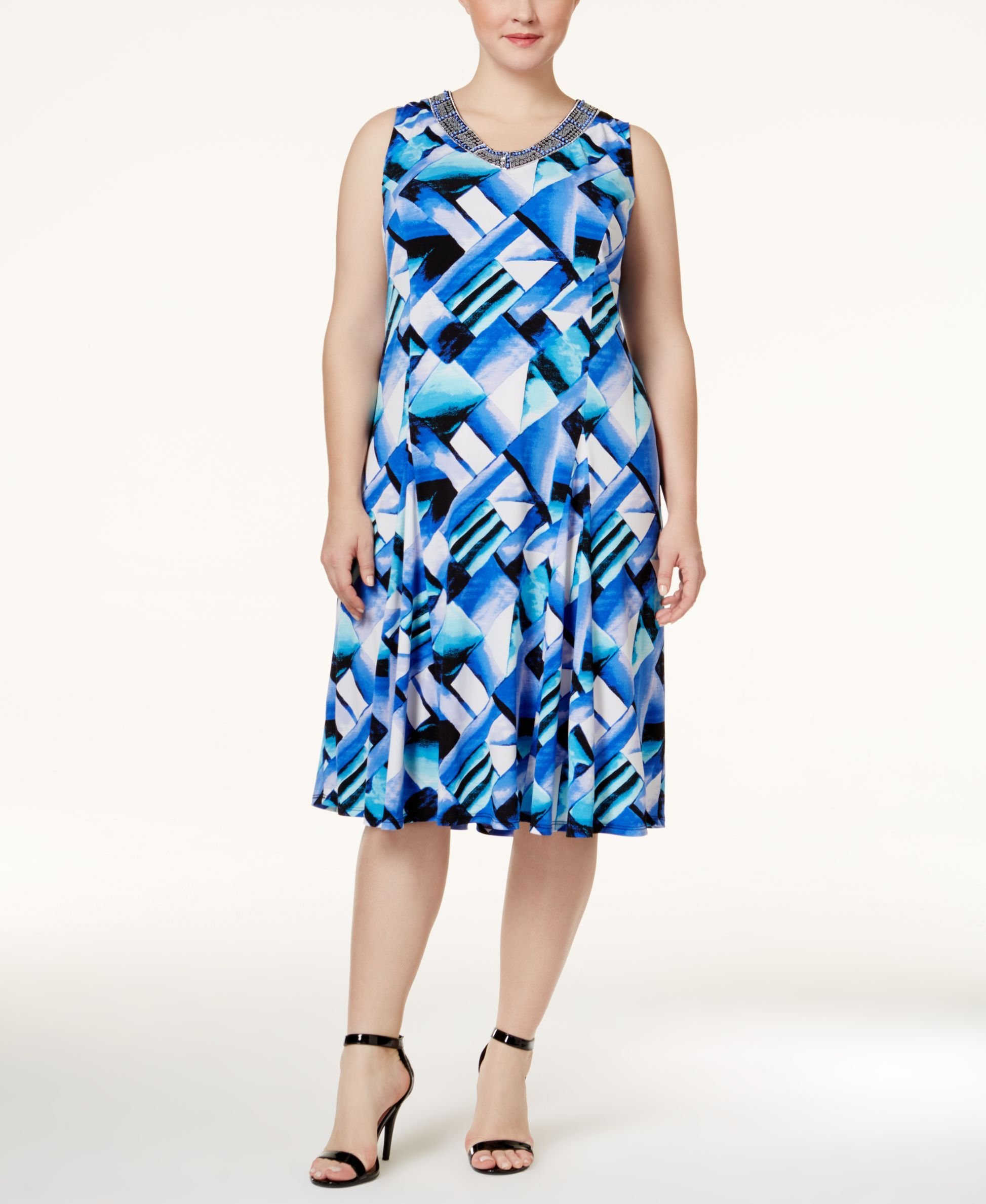 Jm collection plus size printed fit u flare dress only at macyus