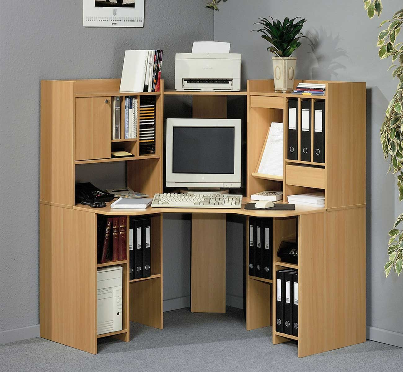 Wonderful Brown Wood Corner Space Functional Desk Design
