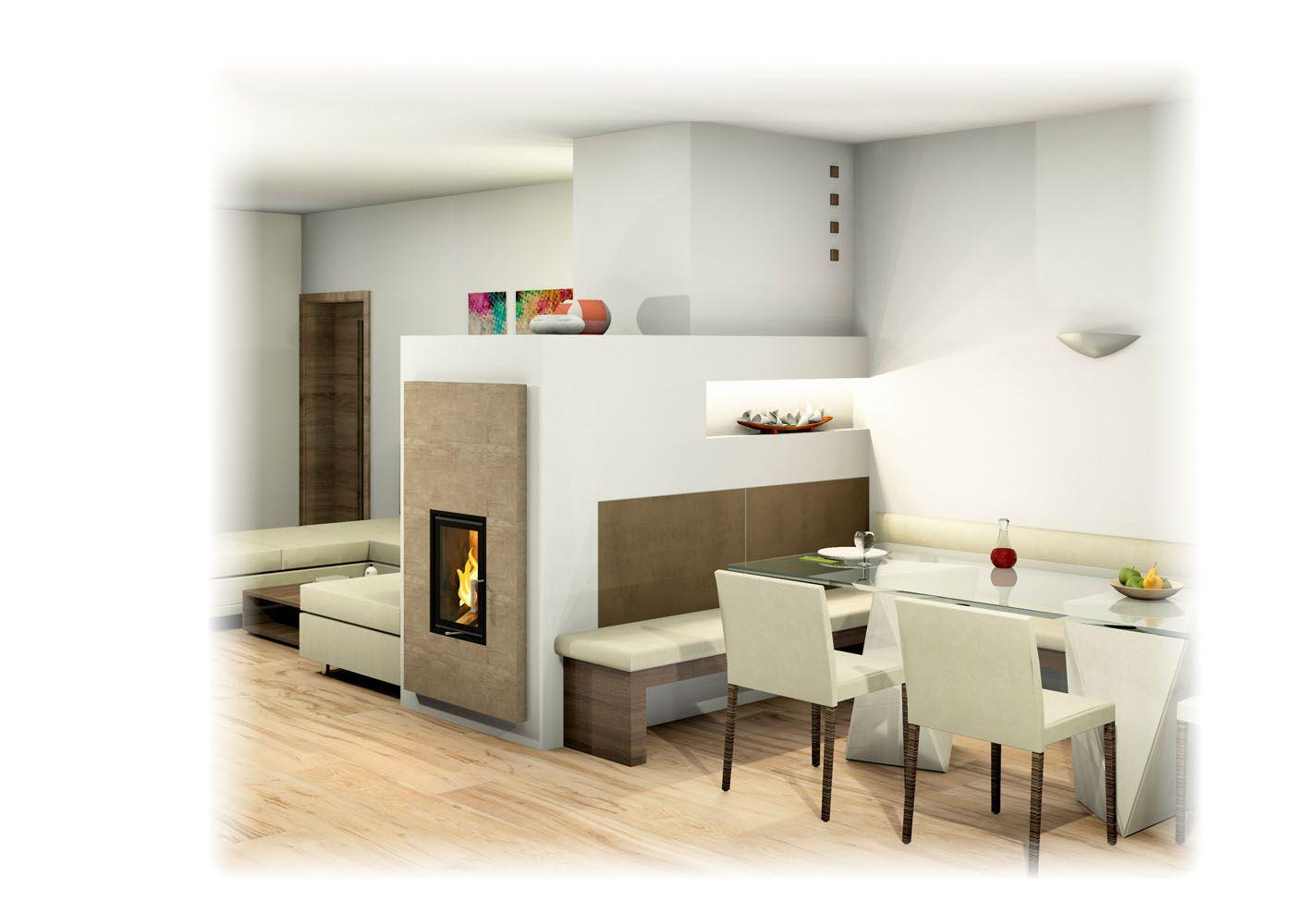 Moderner LandhausKachelofen mit Sichtfenster Essecke und Liege  Home decor in 2019  Room