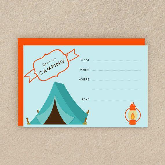 Printable Camping Theme Invitation 4x6 Blank Invitation Orange