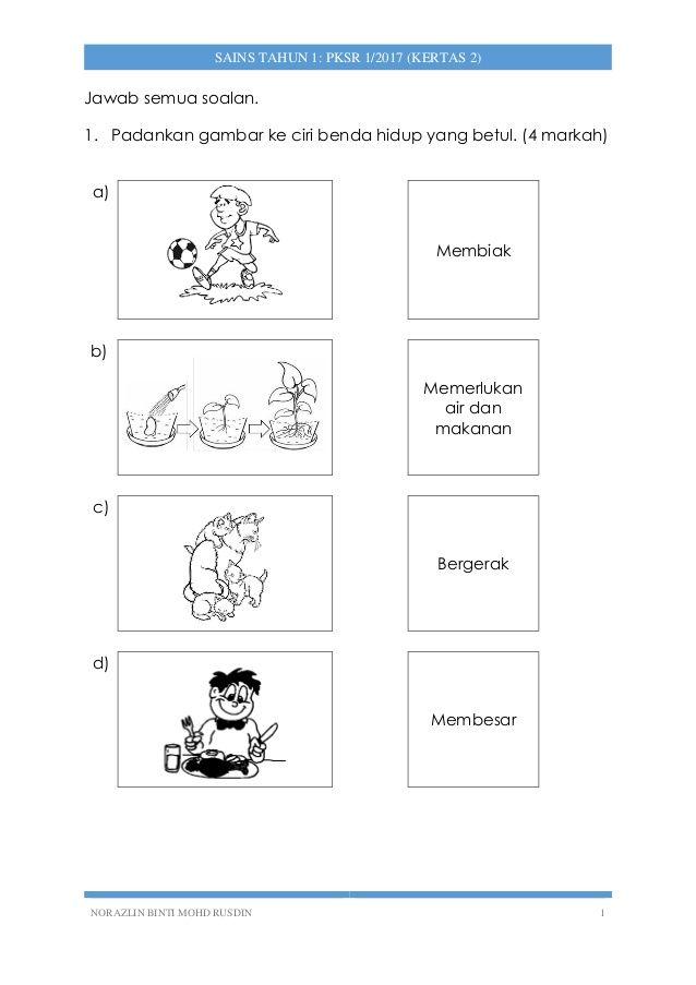Sains Tahun 1 Pksr 1 Kertas 2 2017 Phonics Exam Papers Word Search Puzzle