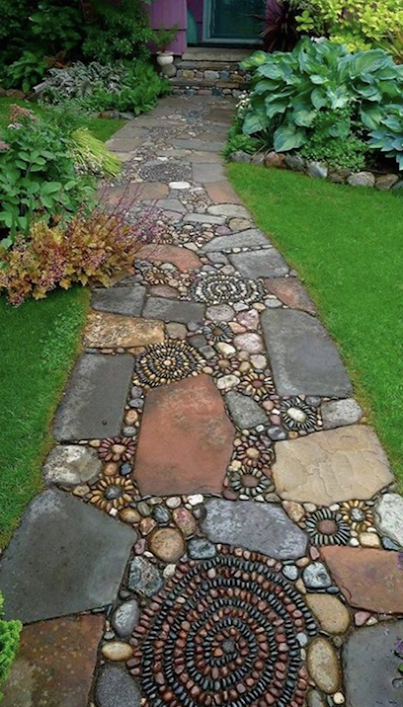 Love The Blend Of Flat Stones And Round Stones Large Ones And Tiny Ones Organic Meets Art Backyard Landscaping Garden Paths Backyard