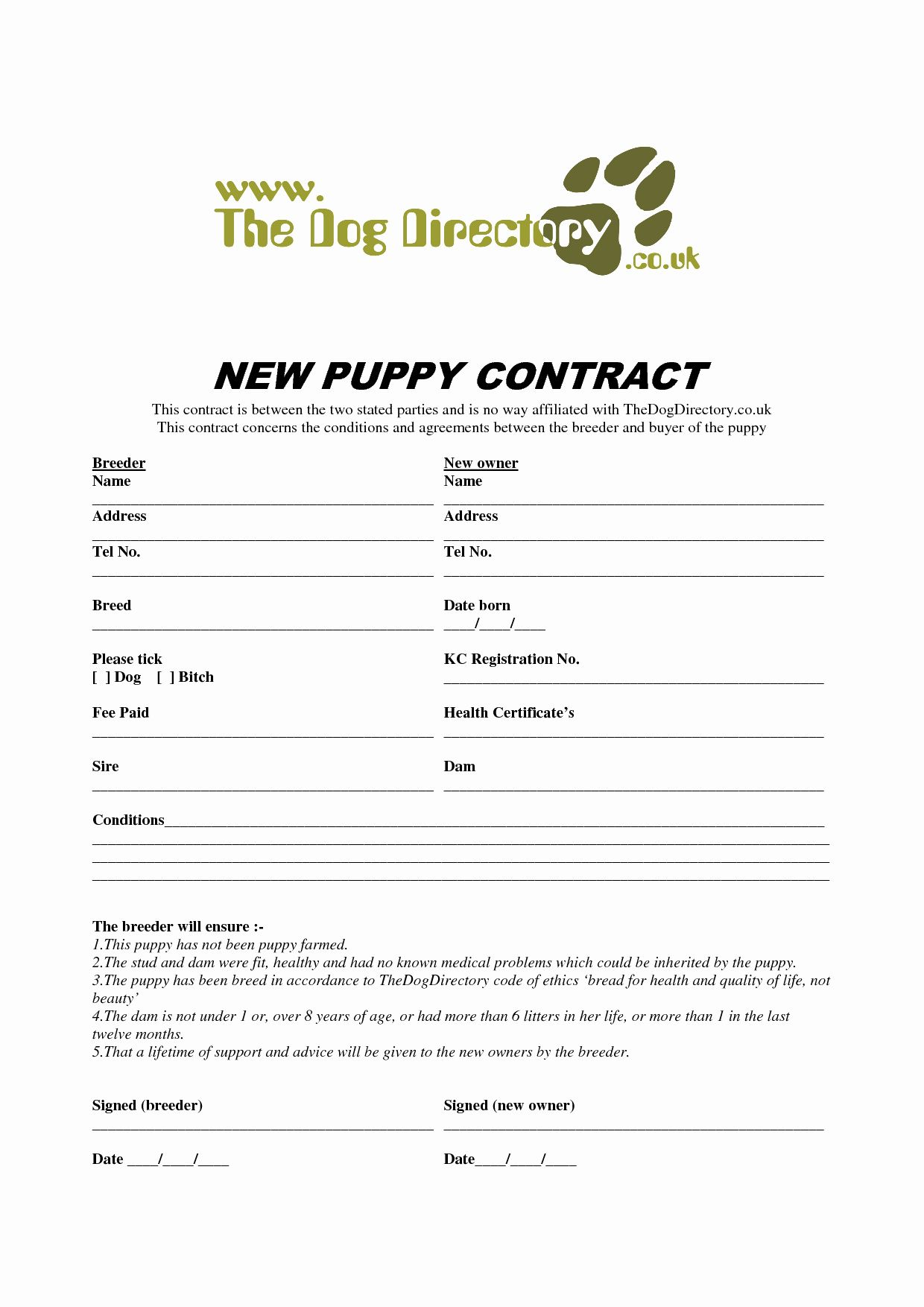 50 unique puppy health guarantee contract template in 2020