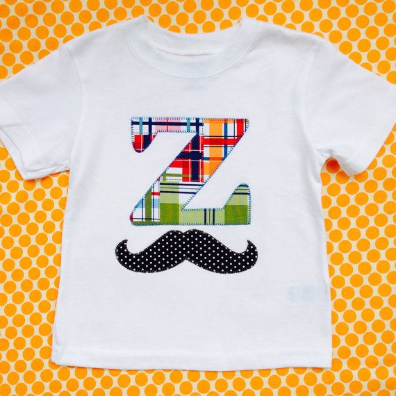 sweet sprouts boys little man mustache initial name shirt ...