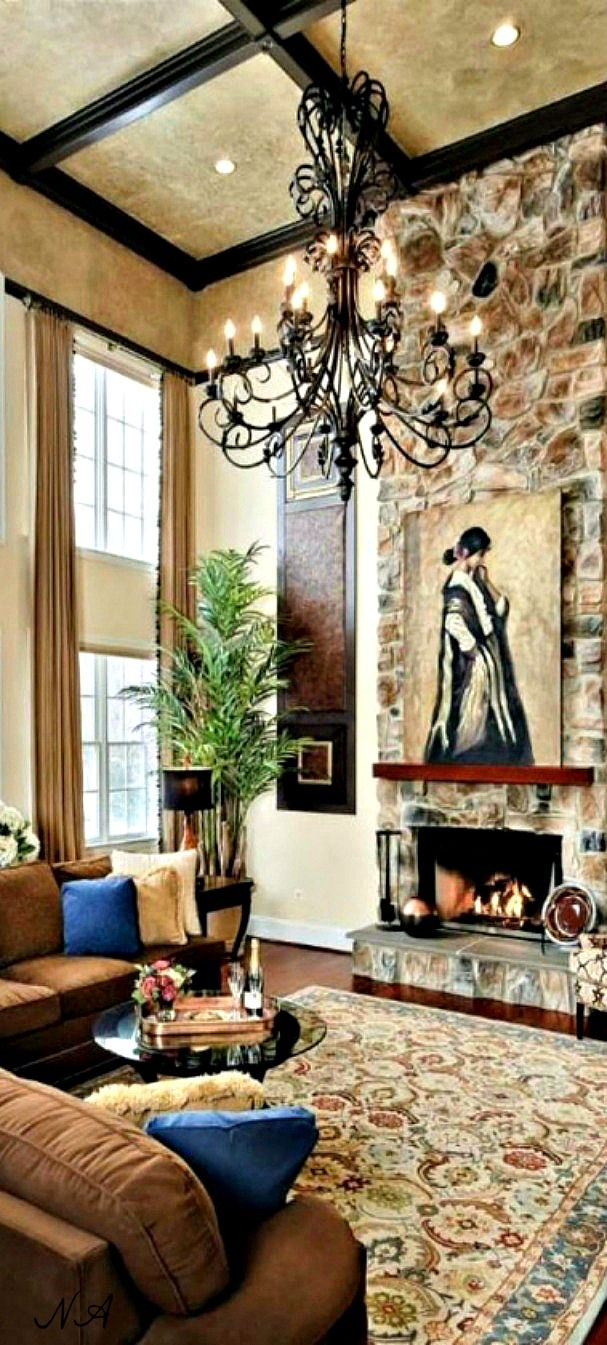 Pretty Room W Large Windows High Ceiling Stone Fireplace In Neutrals