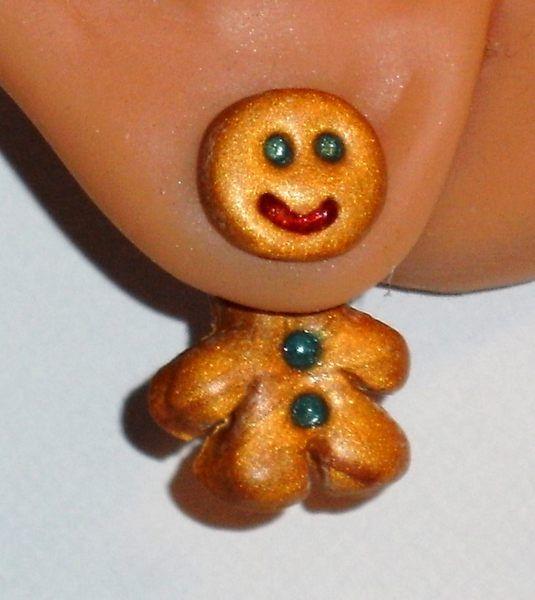 Ohrstecker - Ohrstecker Lebkuchenmännchen handgemacht Fimo - ein Designerstück von ausgefallene-Ohrringe bei DaWanda