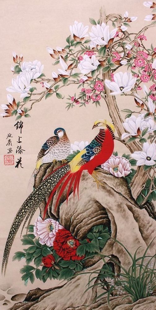 Original Asian Art Chinese Famous Watercolor Painting Golden Birds