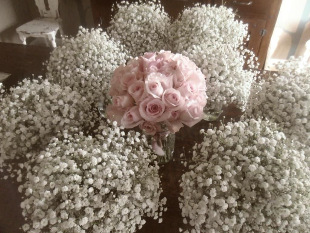 babys breath bridesmaids bouquets with simple bridal bouquet -i'm okay with this idea as well