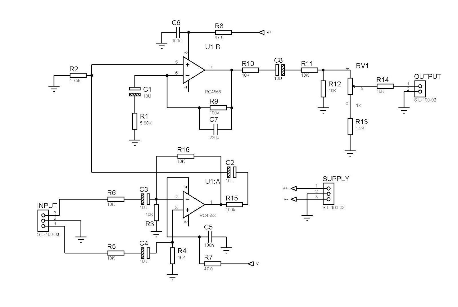 Input Balance Power Amplifier 4558 Smd Pinterest Circuit Diagram Of Jrc4558 Electronic