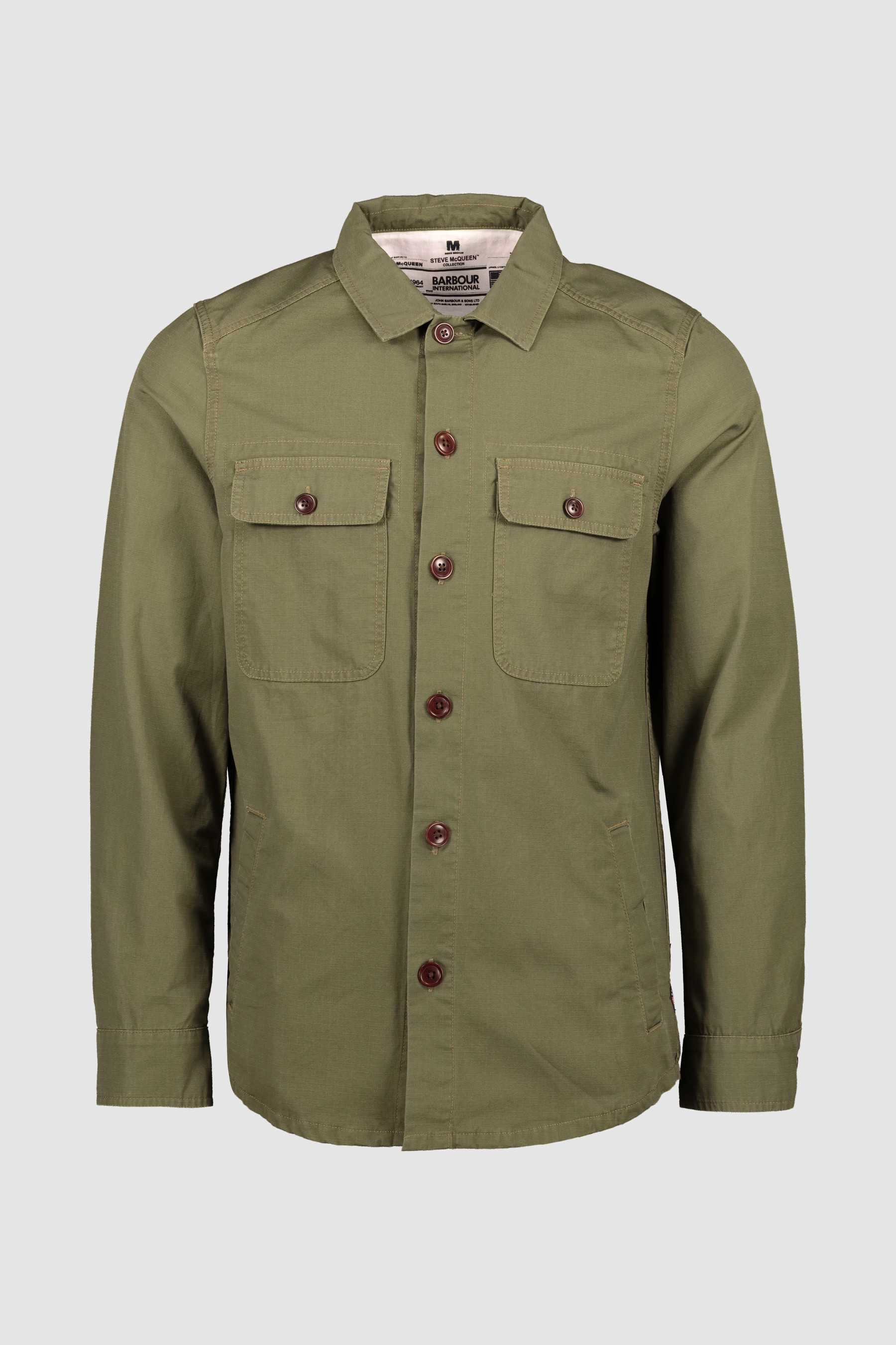3a4c8df3c Mens Barbour International Steve McQueen Olive Doc Overshirt - Green ...