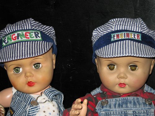 vintage  molded hair  baby dolls