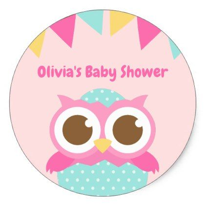 Just hatched pink owl themed baby shower stickers pink owl and just hatched pink owl themed baby shower stickers pink owl and ideas party negle Images
