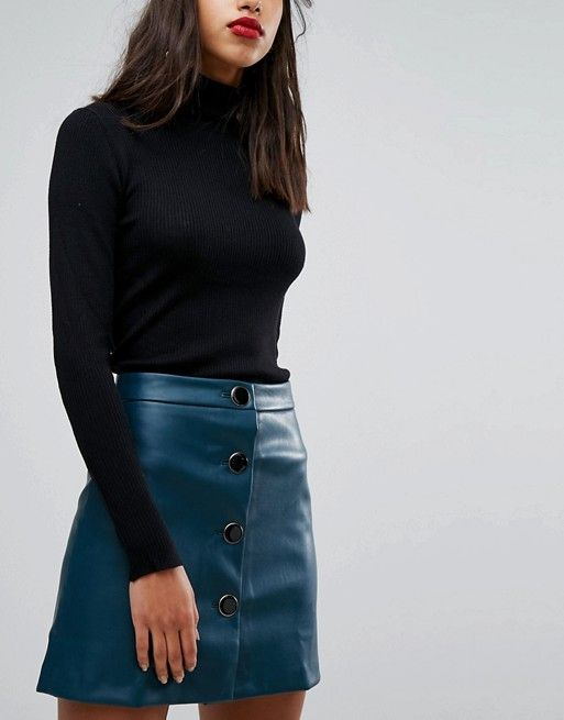 3df4bc649cd2fe Mango Faux Leather Button Front Mini Skirt | ASOS | Mini skirts ...