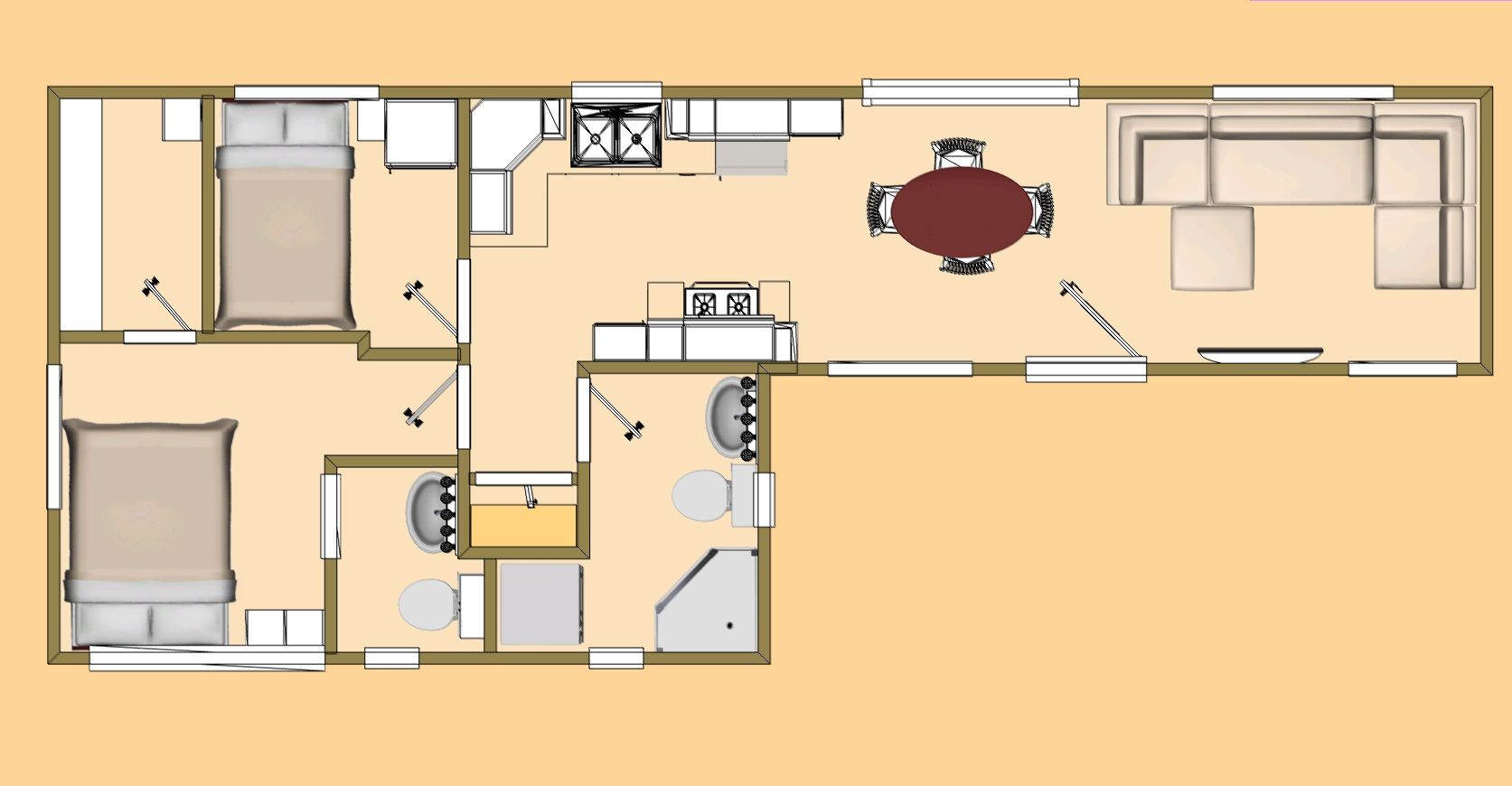 "480 sq. ft. ""cool fat 7"" shipping container floor plan view"