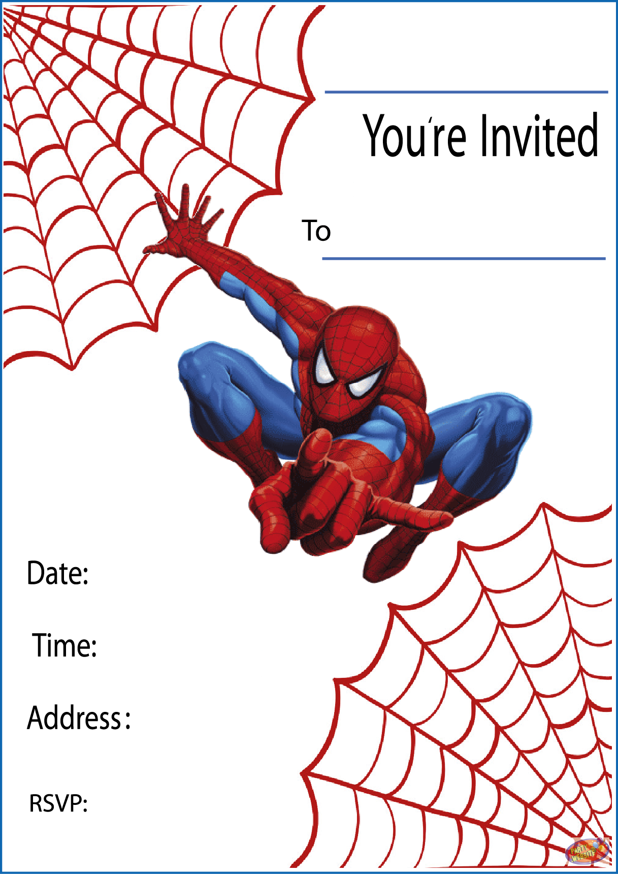 Printable Spiderman Party Invitations