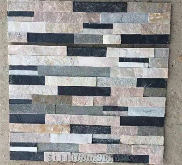 Decorative Stone Wall Tiles Natural China Multicolor Slate Cultured Stone Wall Panel Stone