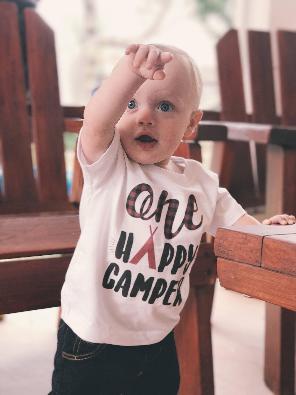 one happy camper kids birthday shirt birthday t baby boy