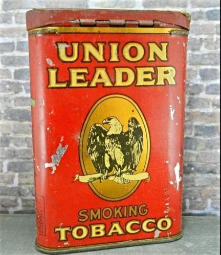 Vintage/ Antique Union Leader Smoking Tobacco Tin Can w Eagle