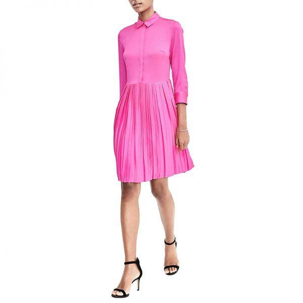 - A punchy Pepto shade breathes new life into a prim shirtdress.Banana Republic Pleat-Skirt Shirtdress, $118