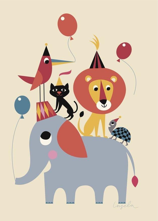 bunte illustration f r das kinderzimmer zirkus zoo circus poster nursery elephant zoo made. Black Bedroom Furniture Sets. Home Design Ideas