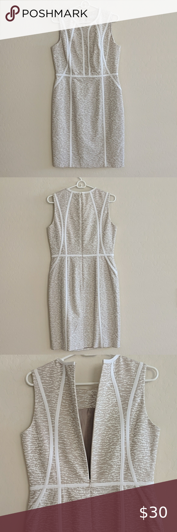 Calvin Klein Tan And White Dress Size 8 Euc Calvin Klein Tan And White Dress Size 8 Eu Black Short Sleeve Dress Womens Sheath Dress Fitted Sheath Dress [ 1740 x 580 Pixel ]