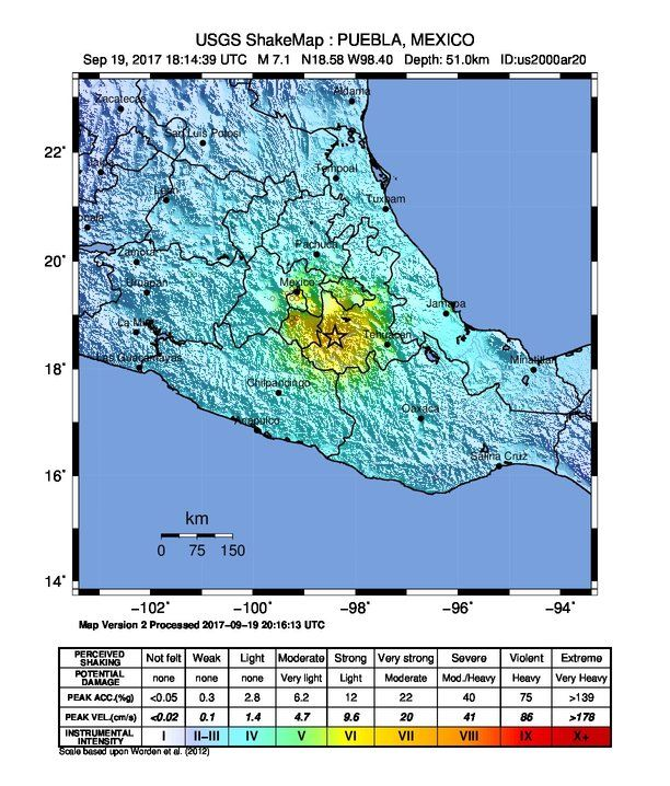 Shakemap Intensity Image Usgs Latest Quakes Mexico Strongest