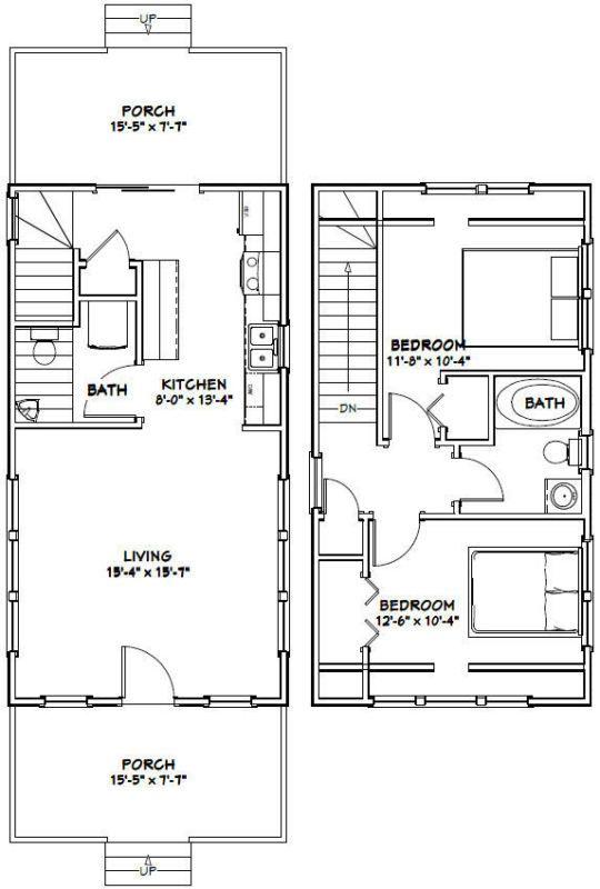 16x30 Tiny House 2 Bedroom Pdf Floor Plan 873 Sq