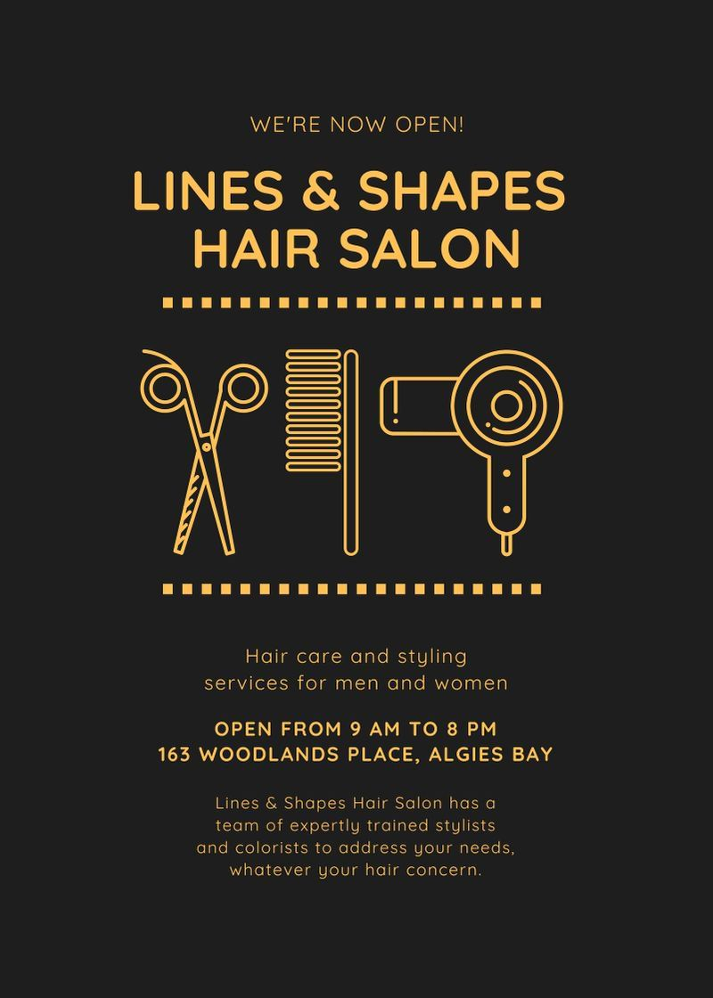 Black And Yellow Icons Headline Salon Opening Flyer Salon Advertising Ideas Salon Openings Salon Advertising