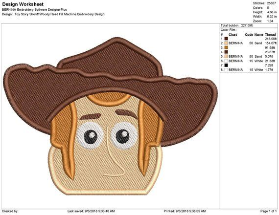 Toy story sheriff woody head fill machine embroidery design
