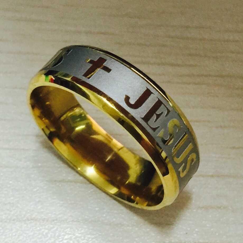 De haute qualité grande taille 8 mm 316 titane acier 18 K argent plaqué or jésus croix lettre de mariage bible bague hommes femmes