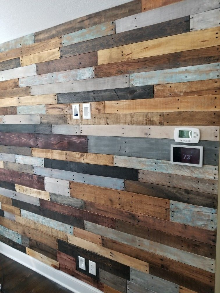 Reclaimed pallet wall in my living room! Less than a week ...