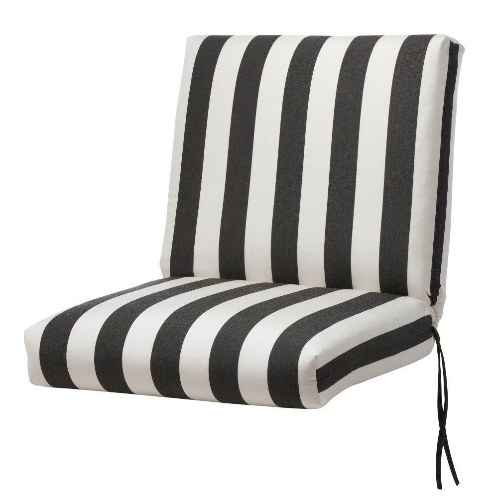Home Decorators Collection Sunbrella Maxim Classic Stripe Outdoor Dining  Chair Cushion
