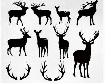 Deer head silhouettes reindeer antlers clipart deer - Cabeza de ciervo decoracion ...