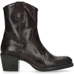 Photo of Brown Snake Pattern Heeled Ankle Boots (36,37,38,39,40,41,42) ManfieldManfield