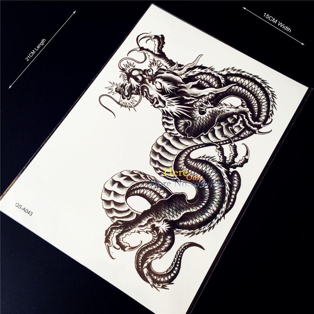 1pc china myth 3d flying dragon ball temporary tattoo