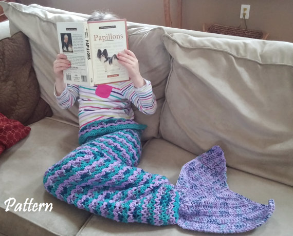 Child Size Crochet Mermaid Tail Snuggle Sack PATTERN, Mermaid Tail ...