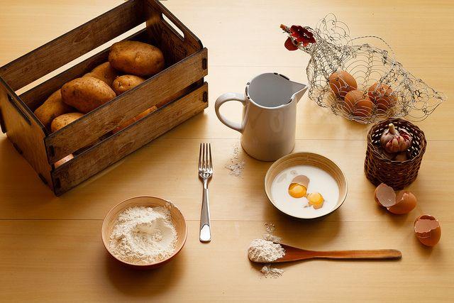 potatoes, garlic, milk, eggs and flour … on Flickr.