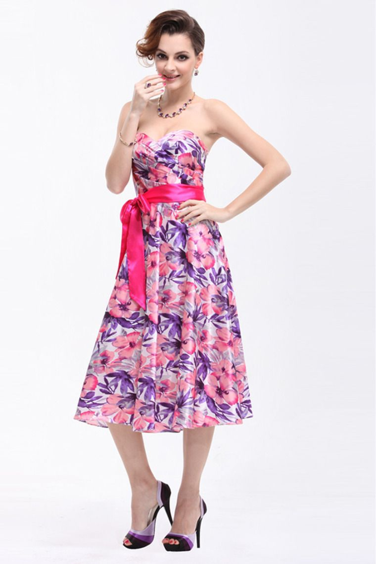 2014 Prom Dresses Sweetheart Pleated Bust A Line Tea Length With ...