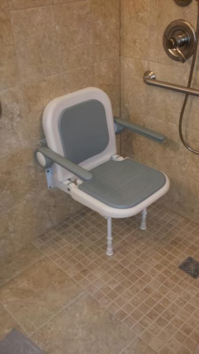 Adjustable shower chair in barrier free shower. | Universal Builds ...