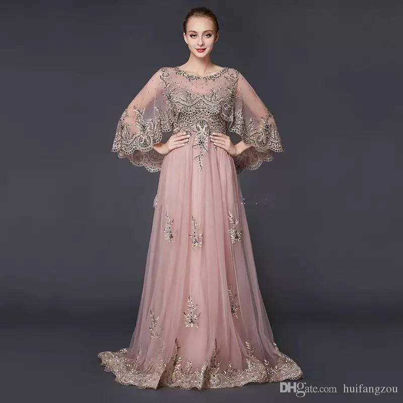 5872b672ac983 Luxury Prom Dresses Illusion Saudi Arabia Middle East Cape Sleeves ...