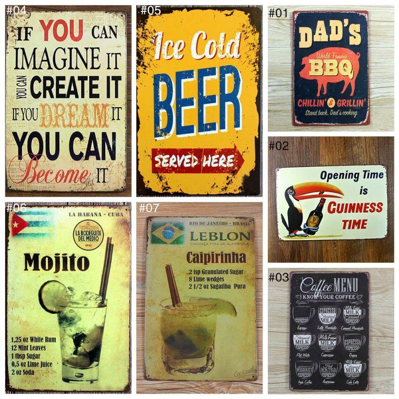 20x30cm Vintage Retro Metal Iron Painting Signs Poster Plaque Bar Pub Club Plaque Vintage Wall Vintage Home De Vintage House Retro Wall Decor Retro Metal Signs