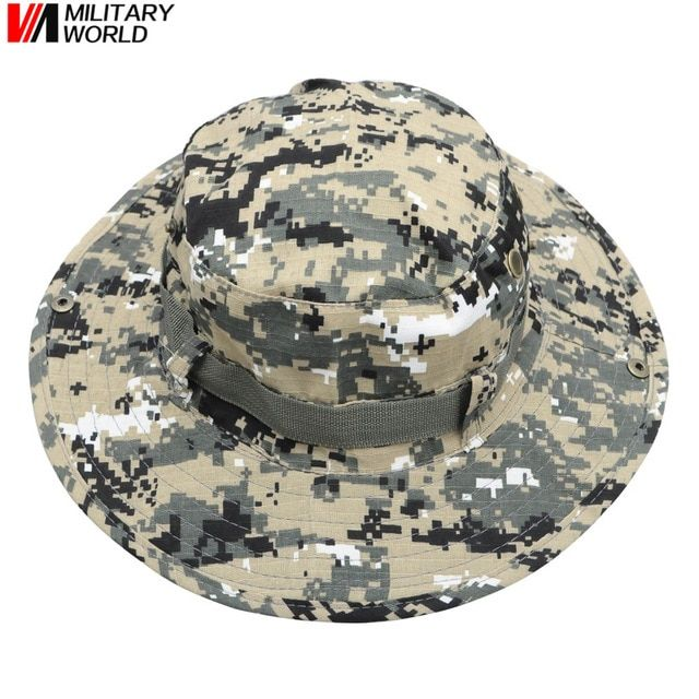 666461c0371 Military Hunting Fishing Camouflage Bucket Boonie Hat Headdress Men Women Outdoor  Tactical Wide Cap Brim Hat Sunscreen Headgear Review