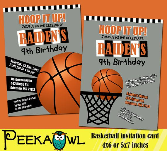 Basketball Invitations For Boys Basketball Invites Etsy Basketball Birthday Invitations Basketball Birthday Basketball Invitations