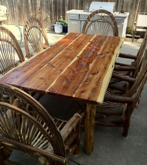 Cedar Round Log Dining Table Real Wood And 50 Similar Items