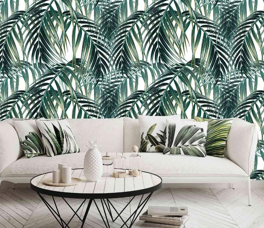 Palm Leaf Mural Peel and stick wallpaper, Temporary