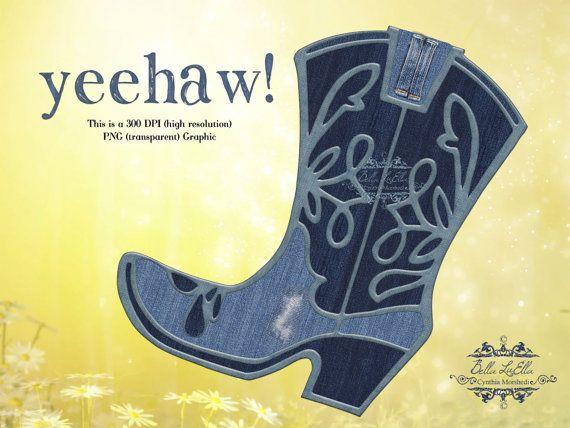 Clipart Clipart Cowboy Boot Denim Boot by BellasScrapsnClips, $1.50