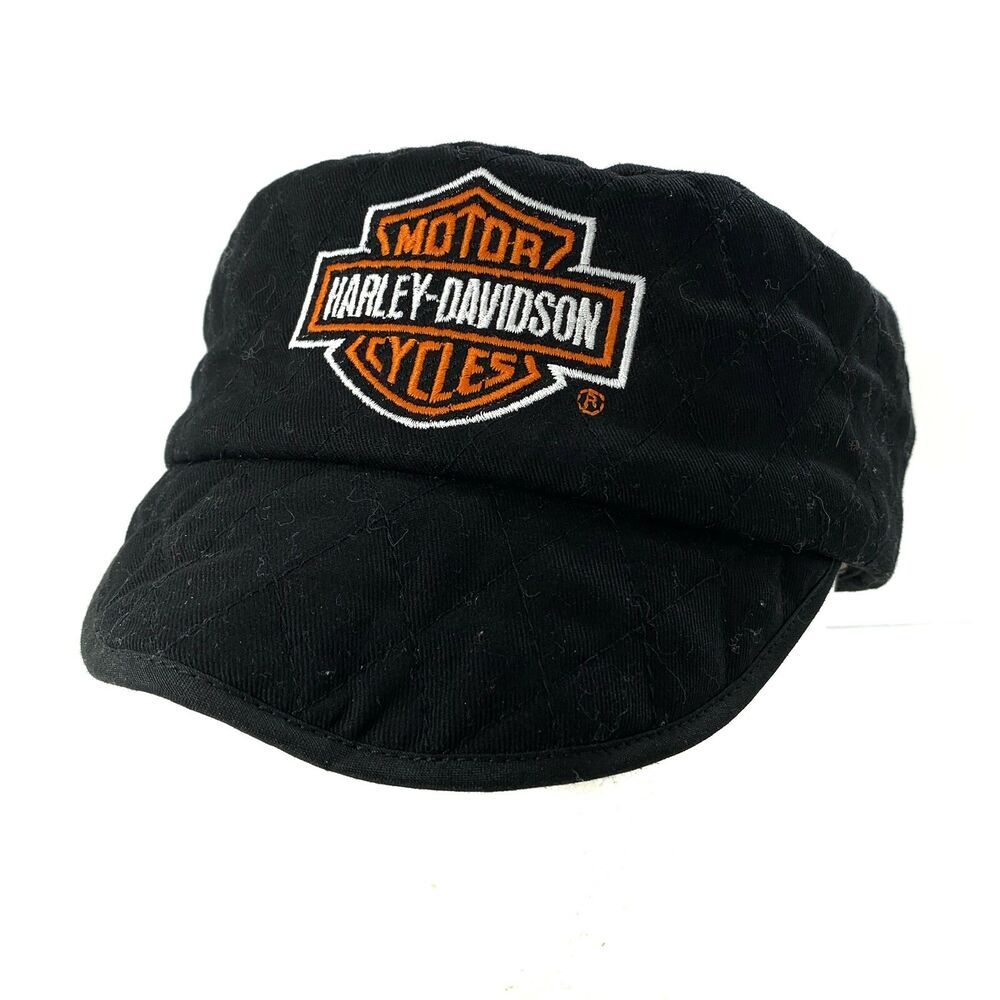 Harley Davidson Hd Shield Quilted Painters Hat Cap Fitted