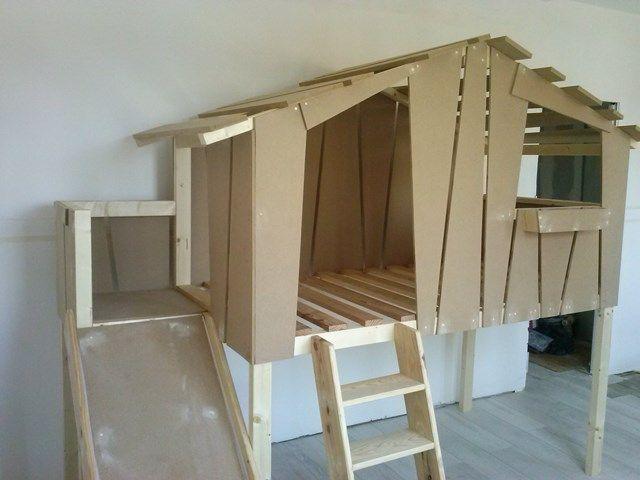 lit toboggan pour enfant cabane en bois sur mesure clair de lune nord lit pinterest. Black Bedroom Furniture Sets. Home Design Ideas